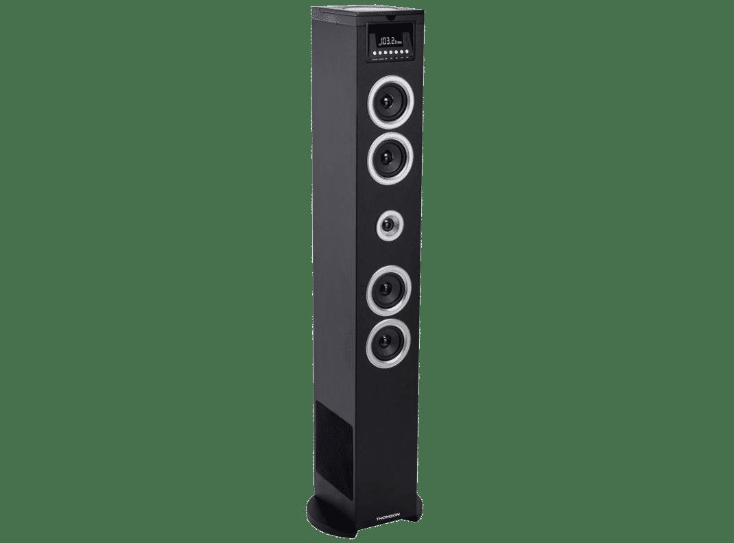 Entrada AUX 2 x micr/ófonos inal/ámbricos Puerto USB Ranura SD Negro Compatible MP3 Altavoces HiFi Reproductor CD Control Remoto auna Tallboy Altavoz de Torre Karaoke con Bluetooth