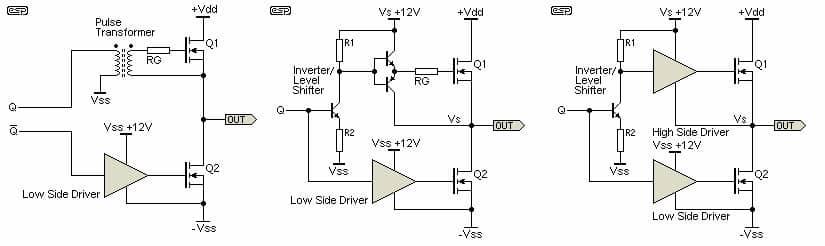 Izquierda transformador duplicado en medio Driver BJT Discreto al la derecha Driver IC